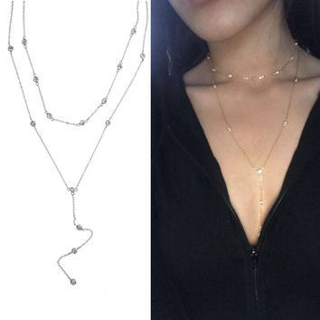2017 girl sexy jewelry various color 925 sterling silver LONG chain double layer cz station choker necklace Clavicle collar love