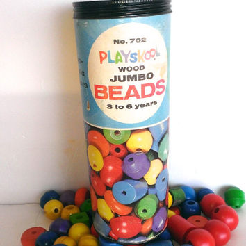 Vintage Playskool Wood Jumbo Beads 1960s In Original 49 Beads Container 5 Shapes 2 Colors Number 702 - NO STRINGERS