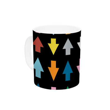 """Project M """"Arrows Up and Down Black"""" Ceramic Coffee Mug"""
