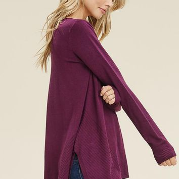 Side Slit Pullover-Plum