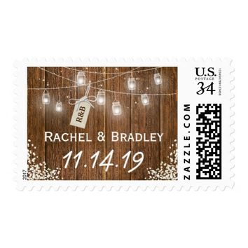 Mason Jar Lights Rustic Babys Breath Wedding Postage