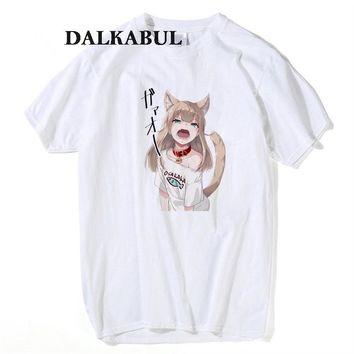 Ahegao Print T Shirt Men Women Harajuku Face Woman OSAKAKA T Shirts Funny Fox Dog Girl Sexy Tees Summer Cute Anime Cartoon Tops