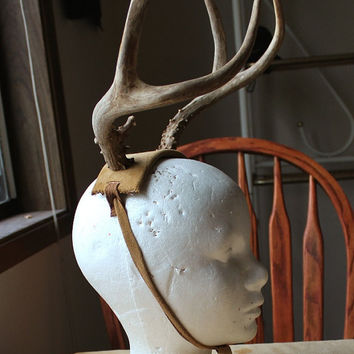 LABOR ONLY plus leather for custom deer antler headband headdress crown totem horns pagan - antlers not included in this listing