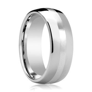 Domed Men's Tungsten Wedding Band with Sterling Silver Stripe Inlay Polished Finish - 6MM - 8MM