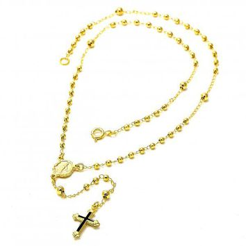 Gold Layered 04.09.0009.16 Thin Rosary, Virgen Maria and Cross Design, Black Enamel Finish, Gold Tone