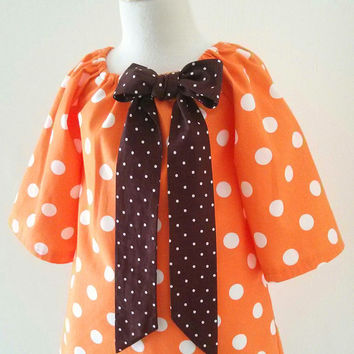 Girls Thanksgiving Dress, Girl Birthday Dress, Girl Fall Dress, Toddler Orange Dress,  Orange Polka Dots Peasant Dress, Made To Order 12M-3T