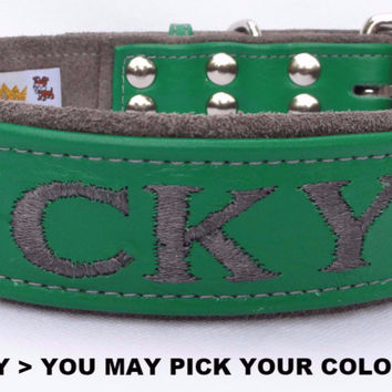 "Dog collar: Leather w/ Suede - 1-1/2"" Wide - Personalized - Adjustable  (Sizes from 16-24) Example 2"
