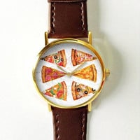 Pizza Watch Women Men's Watches Leather Watch Vintage Style  Jewelry Accessories Spring Fashion Unique Gifts Personalized Rose Gold Silver