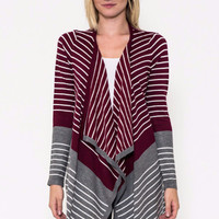 Just Takin It In Stripes Knit Sweater Cardi- Staccato-Burgundy