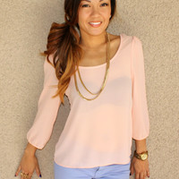 Cross Back 'Janice' Chiffon Blouse (Peach)