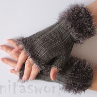 REGULAR PRICE Fingerless Gloves Gray Arm Warmers Mittens 8 inch Knit, Wool Acrylic
