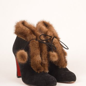 KUYOU Black and Brown Fur Trim Suede Leather Laced Ankle Booties