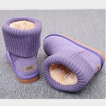 UGG Fashion Plush leather boots boots in tube Boots Purple