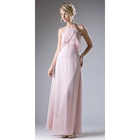 Halter Ruffled Bust Long A-Line Bridesmaids Dress Blush