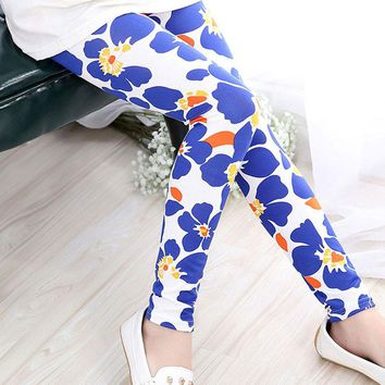 Blue White Floral Leggings