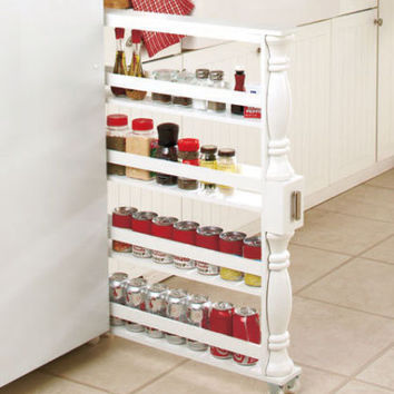White Rolling Slim Can & Spice Rack Holder Kitchen Storage & Organization New