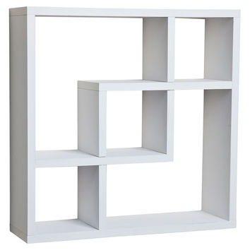 Aakashi White Geometric Wall Shelf