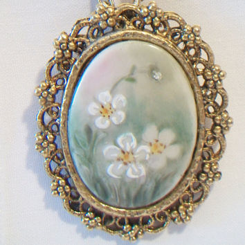 Vintage Ornate Floral Pin Pendant Brooch Necklace Daisy Flower West Germany Costume Jewelry