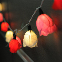 20 white pink red  rose flower string light decoration wedding party decor bed room light night light