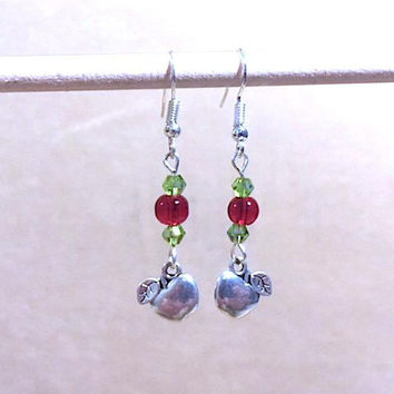 Apple Charm Earrings, Red Glass Bead & Peridot Crystal Earrings w/Silver Two Sided Apple Charms, Handmade Beaded Earrings, Teacher's Gift