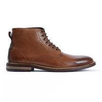 Tan Leather Plain Toe Boots - Men's Boots - Shoes and Accessories