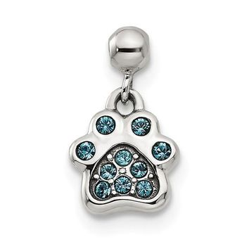 Sterling Silver Mio Memento Blue Swarovski Crystal Dangle Paw Print Charm