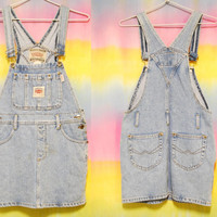 80s Vintage Denim Overalls Mini Dress Jeans Grunge Coverall Vtg 1990s Size XS