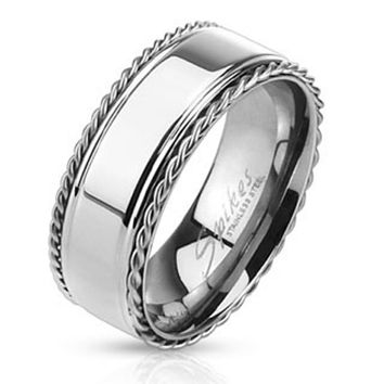 Stainless Steel Glossy Center Band Ring with Braided Chain Edges