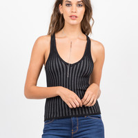 V-Neck Ribbed Knit Tank