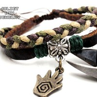 Hand charm leather bracelet, antique bronze hand charm, hand pendant