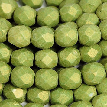 Pacifica - Avocado Green Czech Glass Faceted Bead 6mm Round - 25 Pc