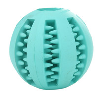 Dog Toy Rubber Balls Pet Dog Cat Puppy Chew Toys Rubber Ball Tooth Cleaning Balls Food Dispenser Dia 7cm Green