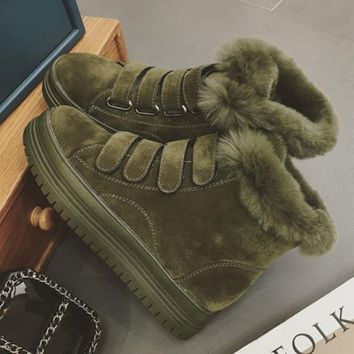 Thick winter designer shoes ugg boots bottom anti-slip Velcro thickening Martin boots cotton shoes Army green