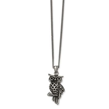 Stainless Steel Polished and Antiqued Owl with Black Crystals Necklace 20in