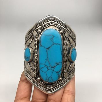 Ethnic Vintage Afghan Turkmen Tribal Kuchi Turquoise Inlay cuff bracelet BR27