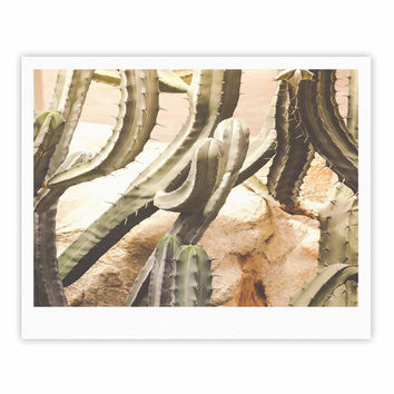 "Ann Barnes ""Cactus Jungle"" Green Beige Fine Art Gallery Print"