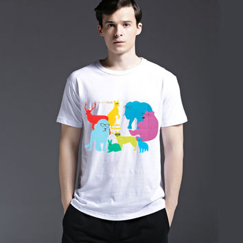 Men's Fashion Cotton Animal Casual Strong Character Summer Tee Short Sleeve Pattern T-shirts = 6451351043