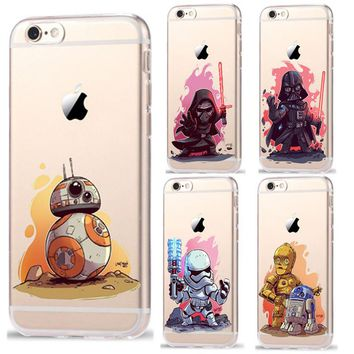 Star Wars Characters KyloRen BB-8 Phone Cases For iPhone 7 7Plus 6 6S Plus 5 5S SE Soft TPU Silicone Case Cover