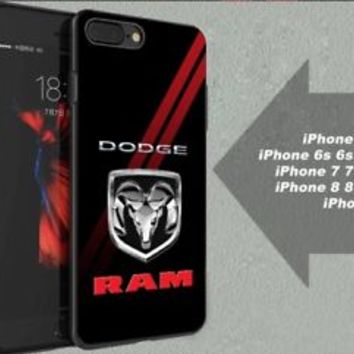 Best Dodge Ram Emblem Red Stripe Fit Hard Case for iPhone 6 6s 7+ 8+ Cover