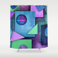 Geometric Chaos Shower Curtain by Tjc555