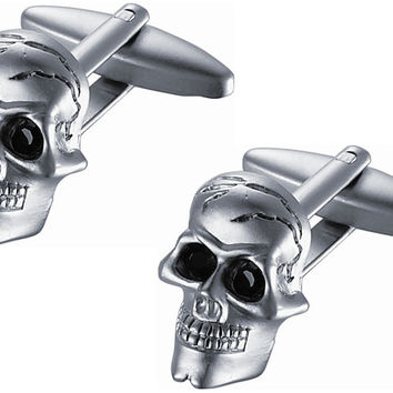 Satin Stainless Steel Skull Cufflinks with Black Crystal Eyes