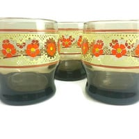 Vintage Smoke Glass Floral Juice Glasses, Set of 3, Retro Kitchen Dishes, Kitchen Decor