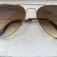 One-nice™ Cheap Gold/Brown RAYBAN Aviator Gradient Sunglasses outlet