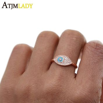 2018 new arrival factory direct rose gold delicate dainty ring for women finger midi ring open size turkish evil eye lucky rings
