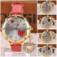 Women Quartz Wrist Watch Casual Heart Pattern Rhinestones HOT SALE = 1932055940
