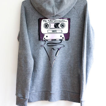 "V ""For The Animals"" Mixtape Zip Up Hoodie In Grey"