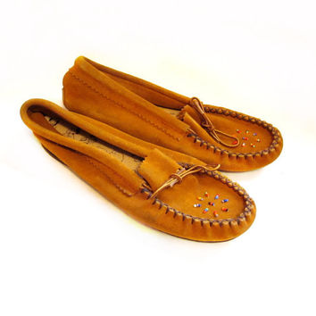 1970s Suede Leather Moccasin Slippers, Native American