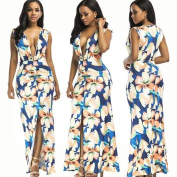 Europe and the United States digital printing sexy nightclubs multi-color V-neck dress