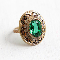 Vintage Emerald Green Stone & Black Enamel Brass Ring - Antique 1930s Art Deco Large Statement Size 6 Costume Jewelry Cocktail Ring