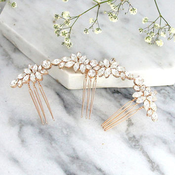Bridal Hair Comb, Swarovski Hair Comb, Hair Side Comb, Bridal Hair Accessories, Rose Gold Hair Comb,Bridal Silver Hair Comb, Bridal Jewelry